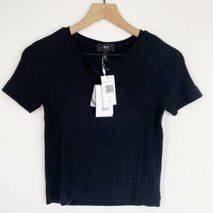 3 X 1 NYC Ribbed Button Front Top Ribbed Knit Larg